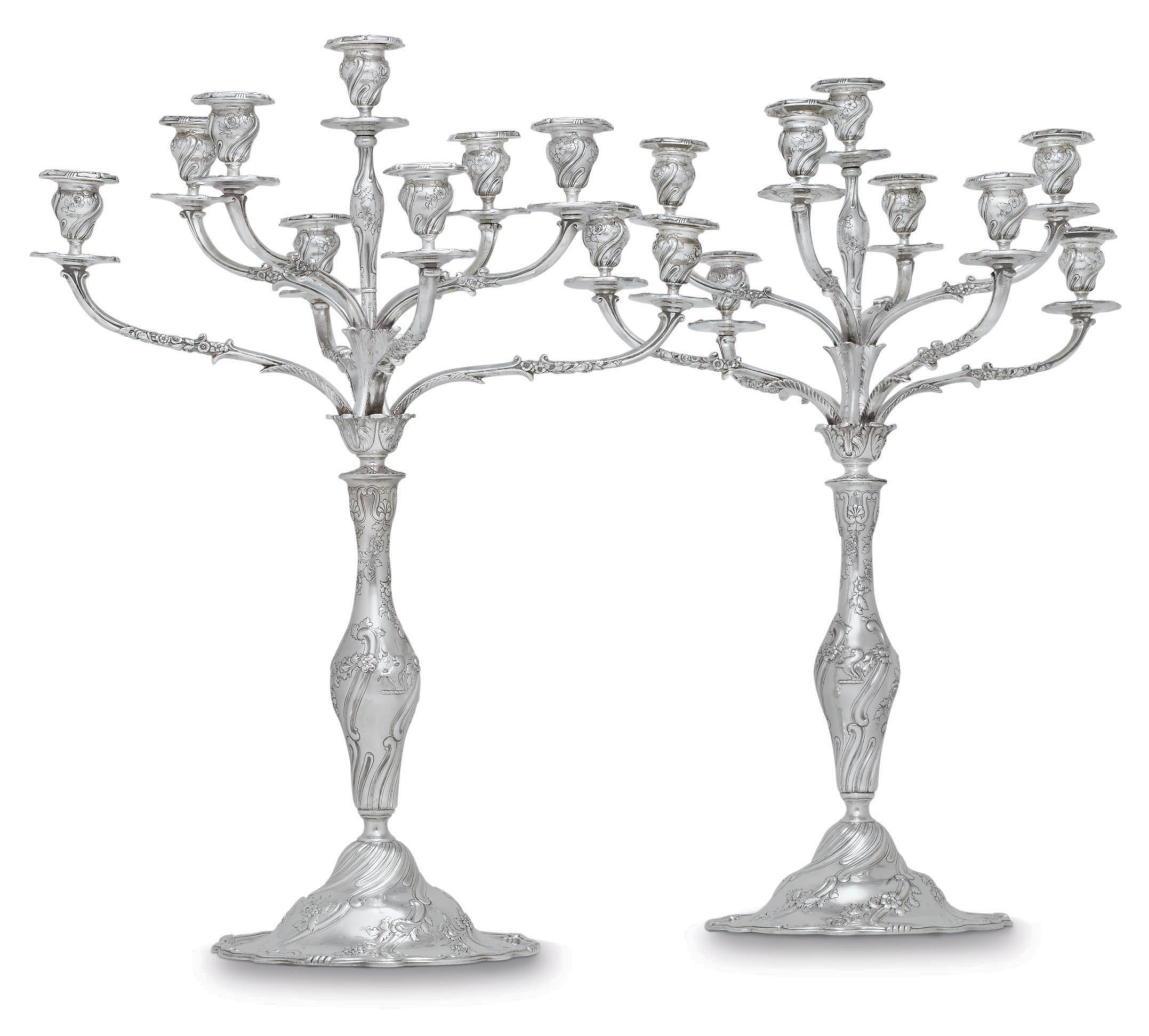A PAIR OF AMERICAN SILVER NINE-LIGHT CANDELABRA