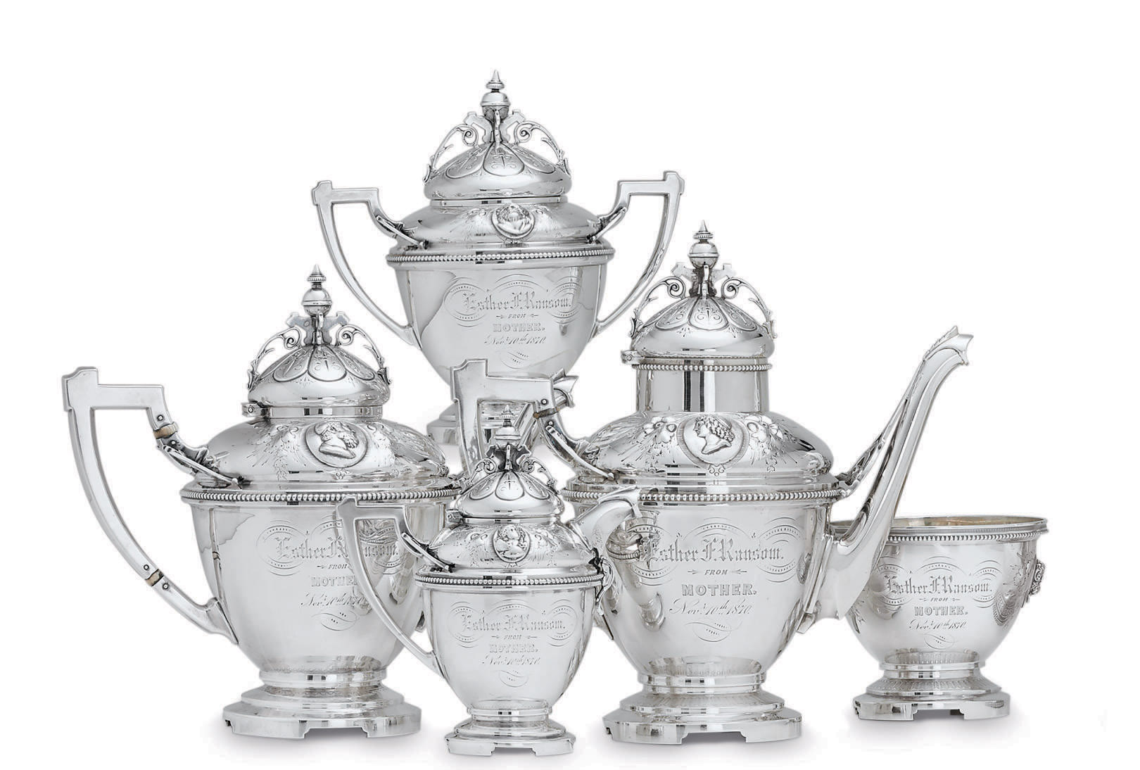 AN AMERICAN SILVER FIVE-PIECE TEA AND COFFEE SERVICE**