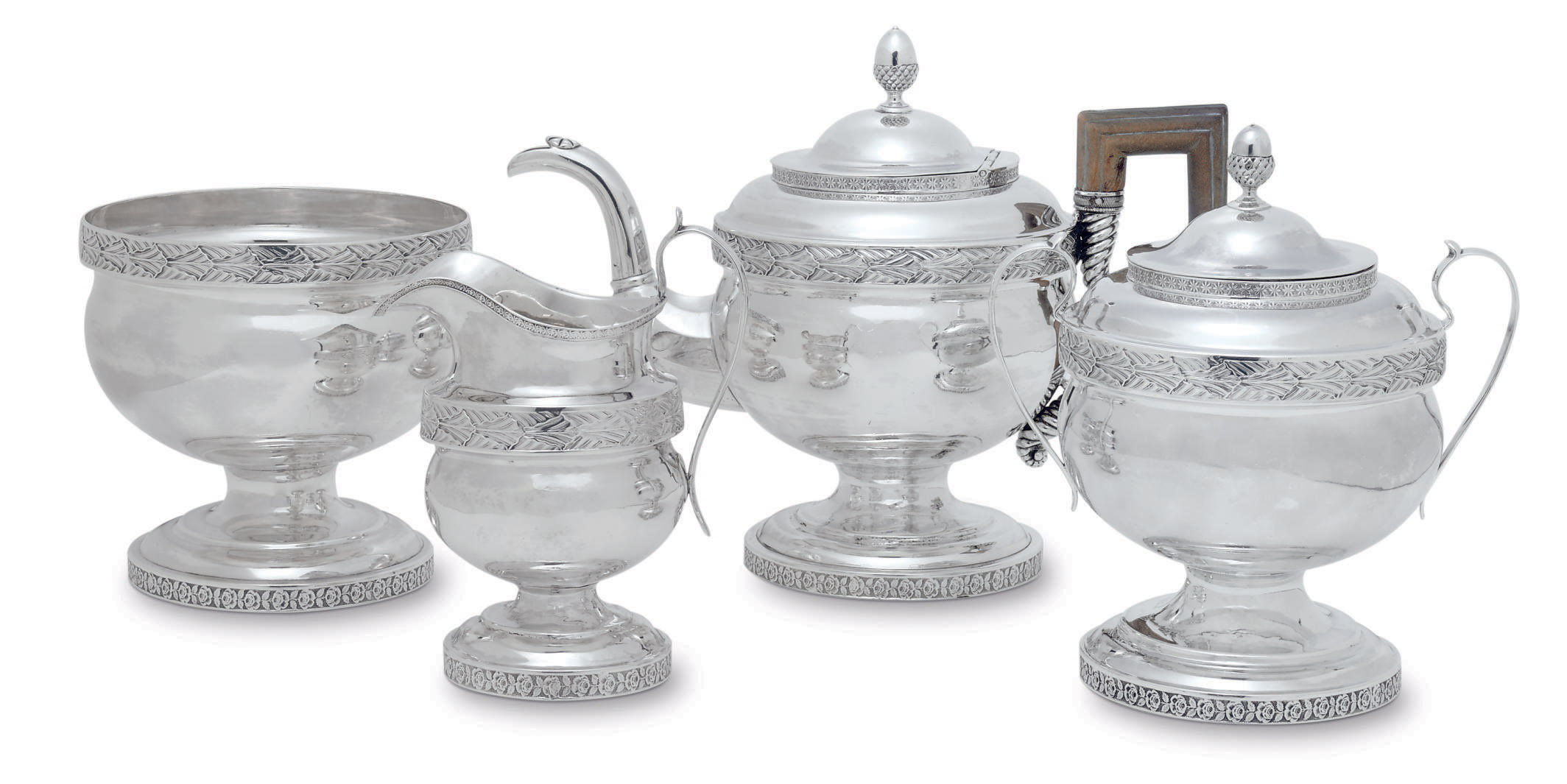 AN AMERICAN SILVER FOUR-PIECE TEA SERVICE
