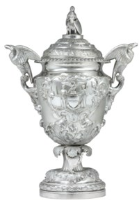 A MONUMENTAL AMERICAN SILVER PRESENTATION CUP AND COVER