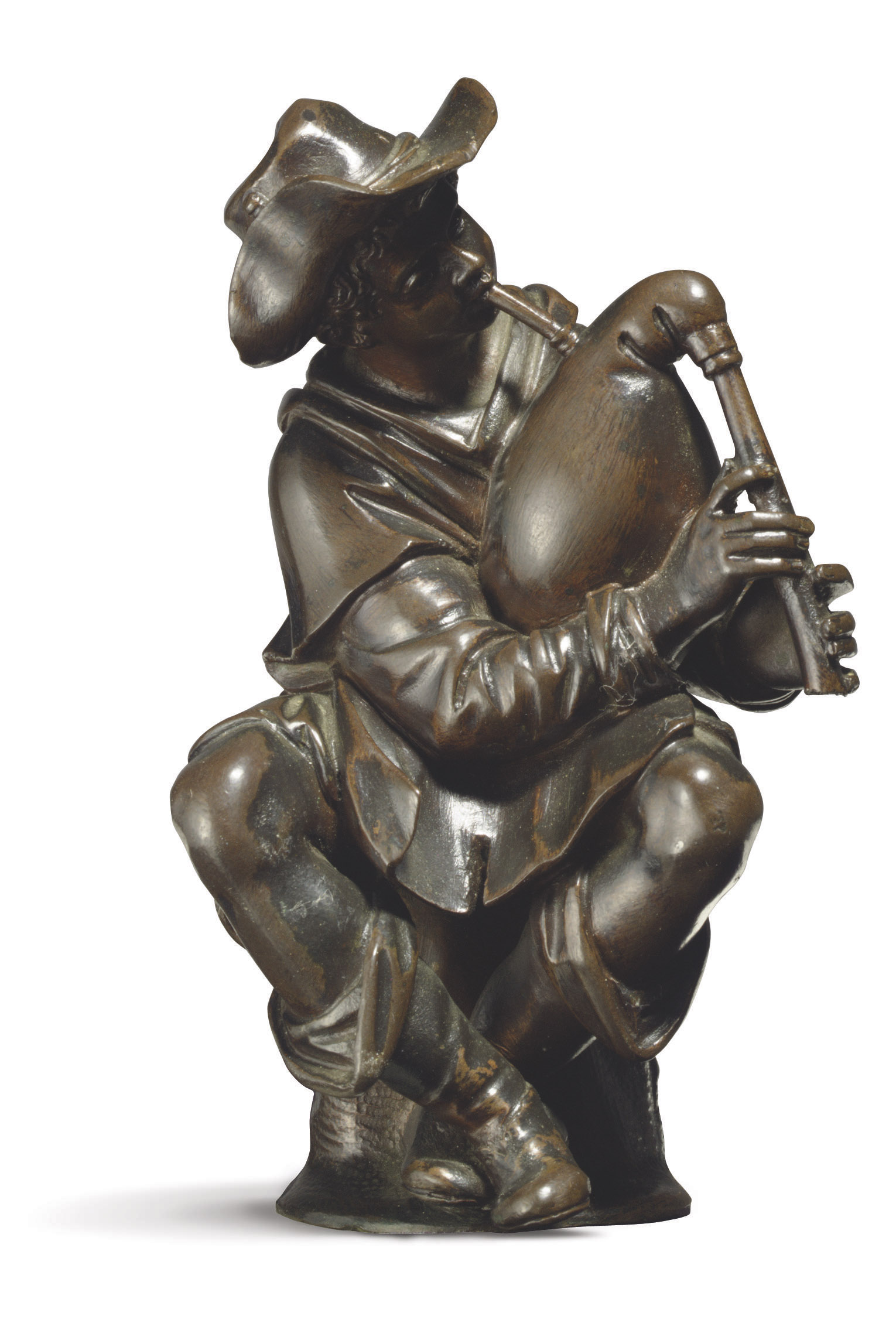 A BRONZE FIGURE OF A SEATED BAGPIPE PLAYER
