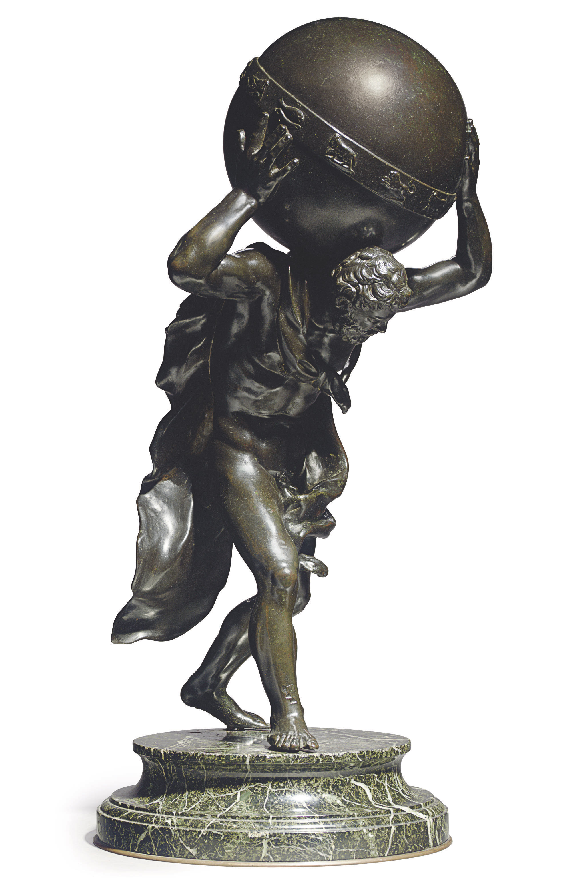 A BRONZE FIGURE OF HERCULES SUPPORTING THE CELESTIAL GLOBE