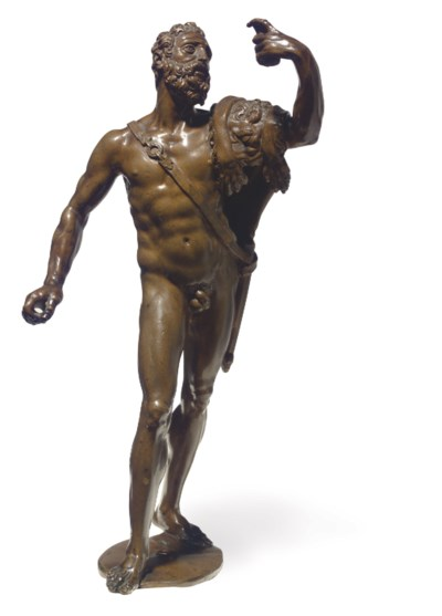 A BRONZE FIGURE OF HERCULES