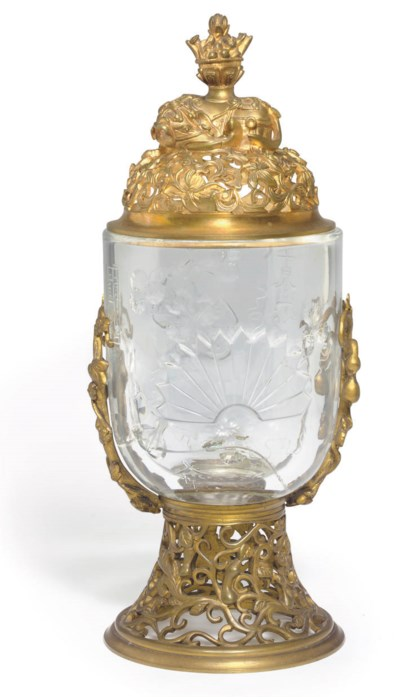 A FRENCH ORMOLU-MOUNTED GLASS