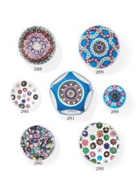 TWO CLICHY GLASS MILLEFIORI COLOR-GROUND WEIGHTS