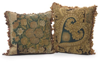 TW0 FLEMISH TAPESTRY PILLOWS