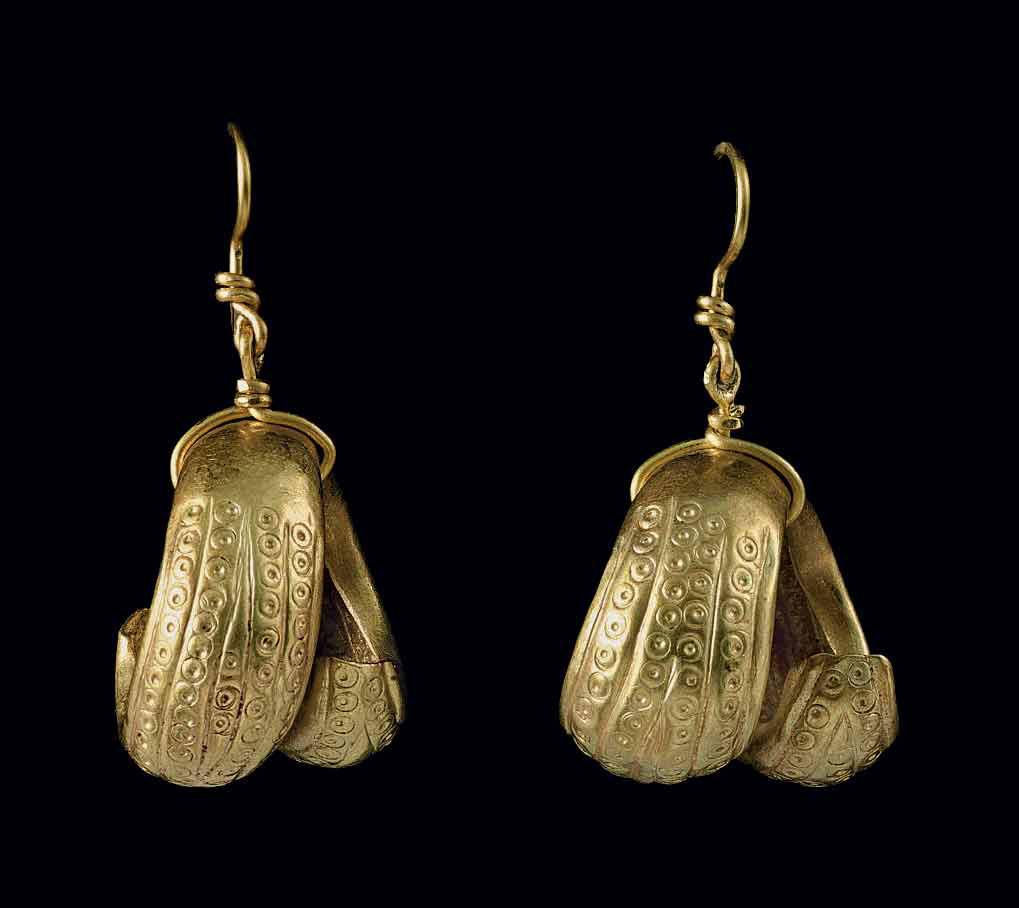 TWO MESOPOTAMIAN GOLD HAIR RIN