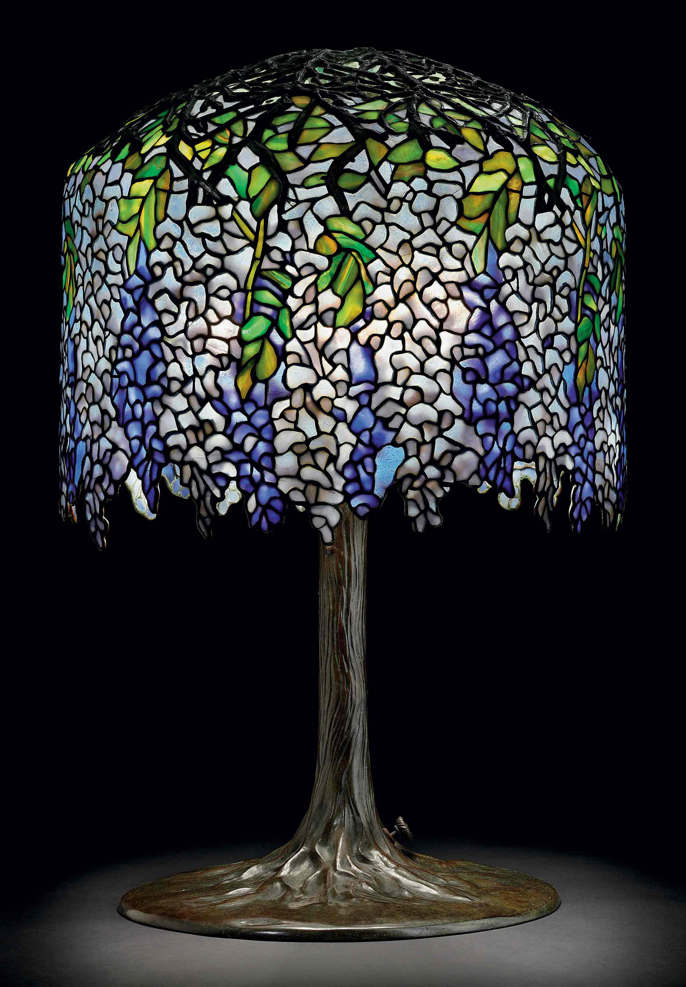 Tiffany Studios A Wisteria Leaded Glass And Bronze