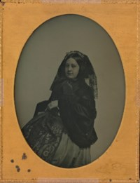 Portrait of a young woman with lace veil, 1854