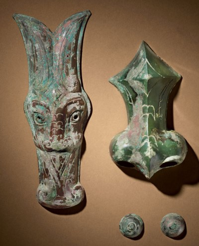 TWO UNUSUAL BRONZE CHAMFRONS,