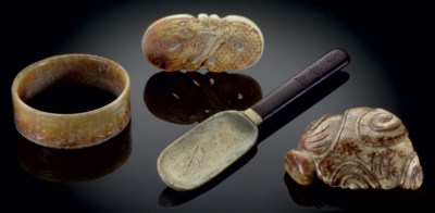 A GROUP OF FOUR JADE OBJECTS