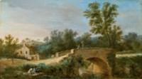 Pont en pierre dans un paysage animé