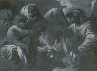 La Vierge et l'enfant avec Joseph et un ange devant eux