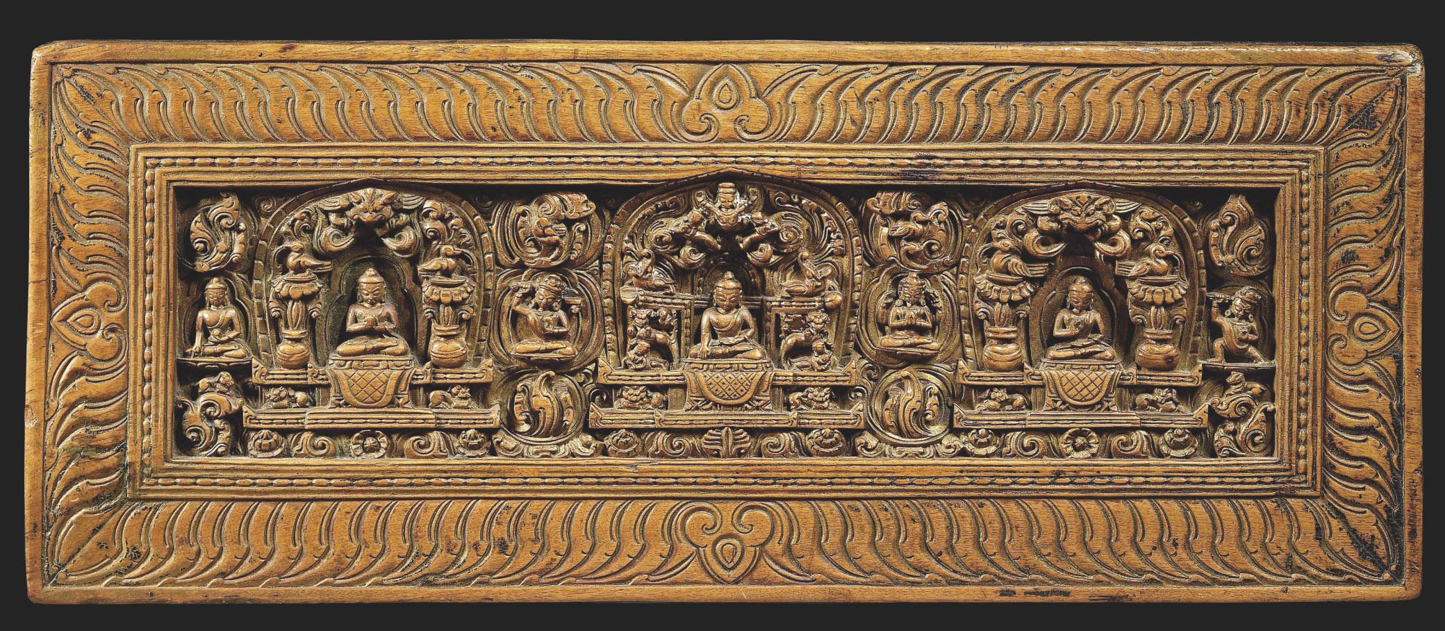 Couverture De Livre En Bois Sculpte Et Dore Tibet Xveme