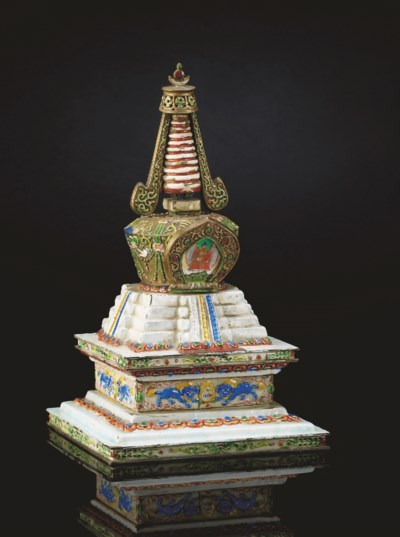 RARE STUPA EN CUIVRE EMAILLE