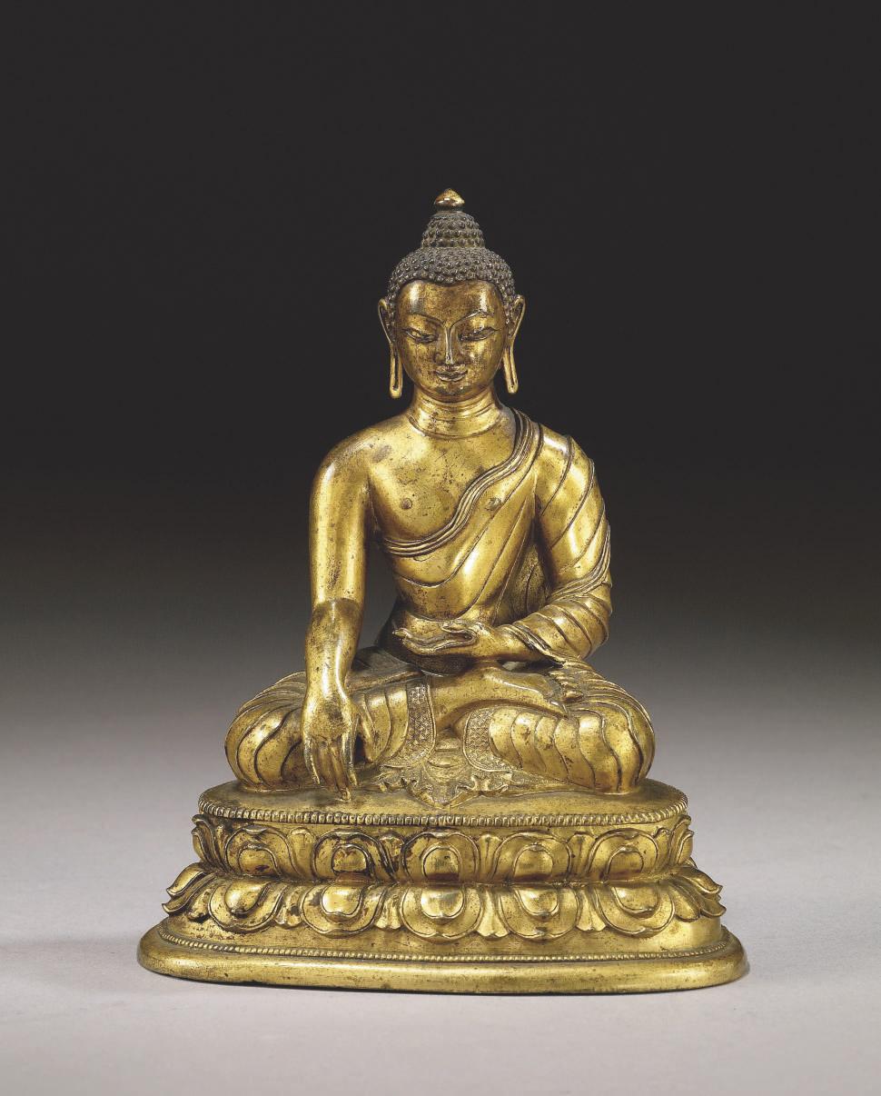 statuette de bouddha shakyamuni en bronze dore tibeto. Black Bedroom Furniture Sets. Home Design Ideas