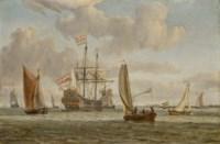 Un vaisseau entouré de voiliers, la côte à l'arrière-plan