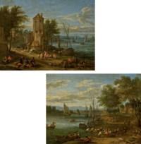 Pêcheurs au bord d'une rivière; et Personnages orientaux devant une tour au bord d'un fleuve