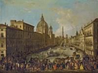 Vue de la place Navone inondée à Rome