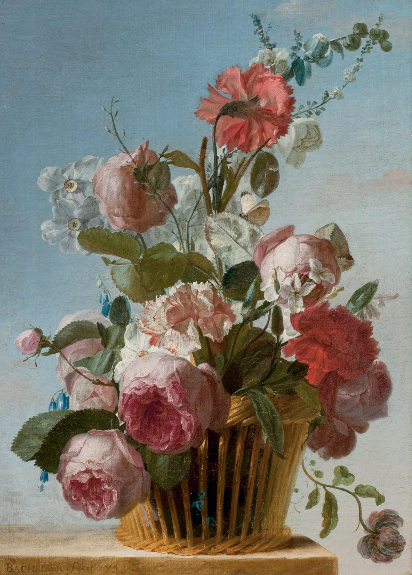 Roses, oeillets et narcisses dans une corbeille posée sur un entablement