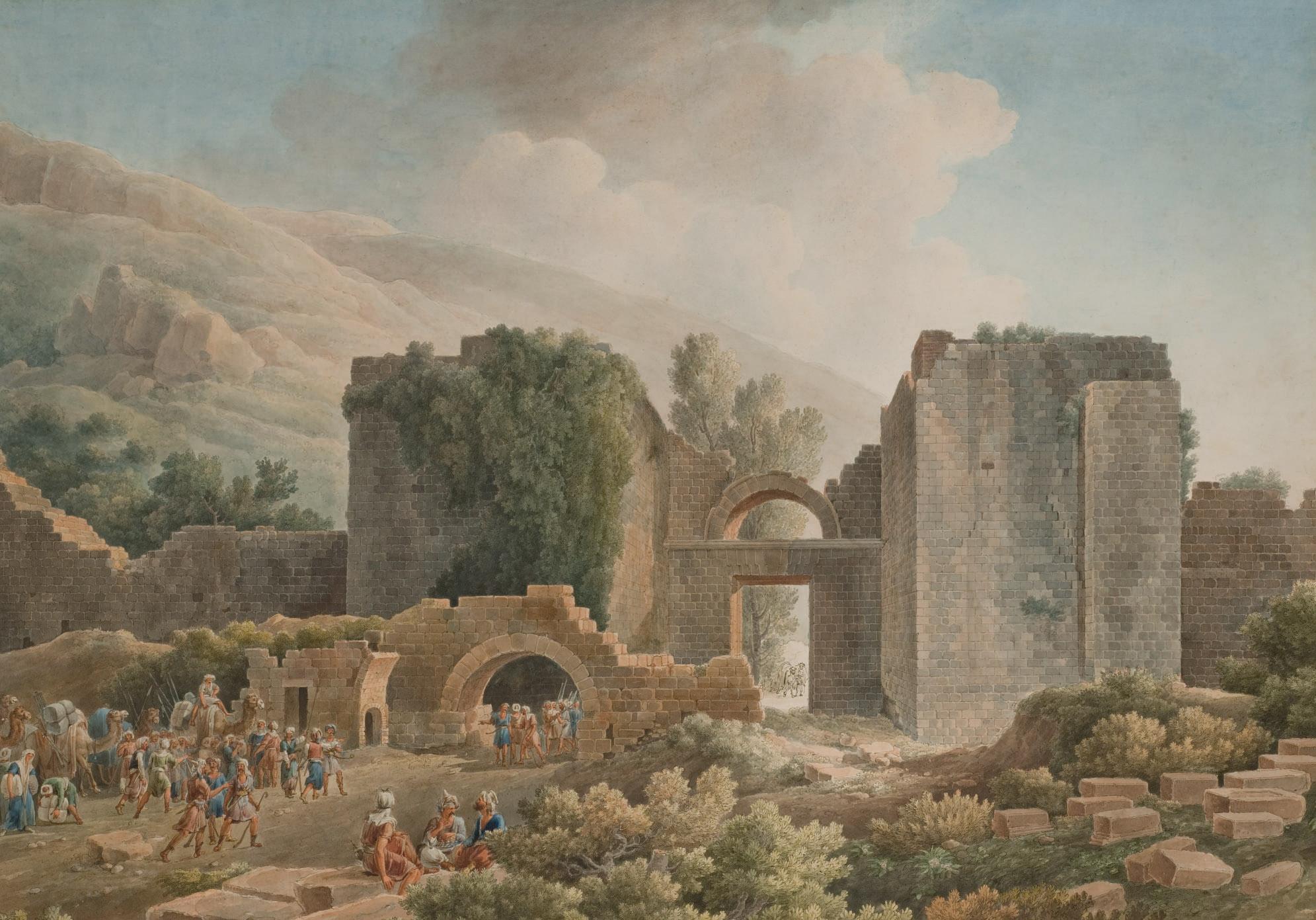 Vue présumée de la cité antique de Pergé en Turquie, un convoi d'orientaux au premier plan