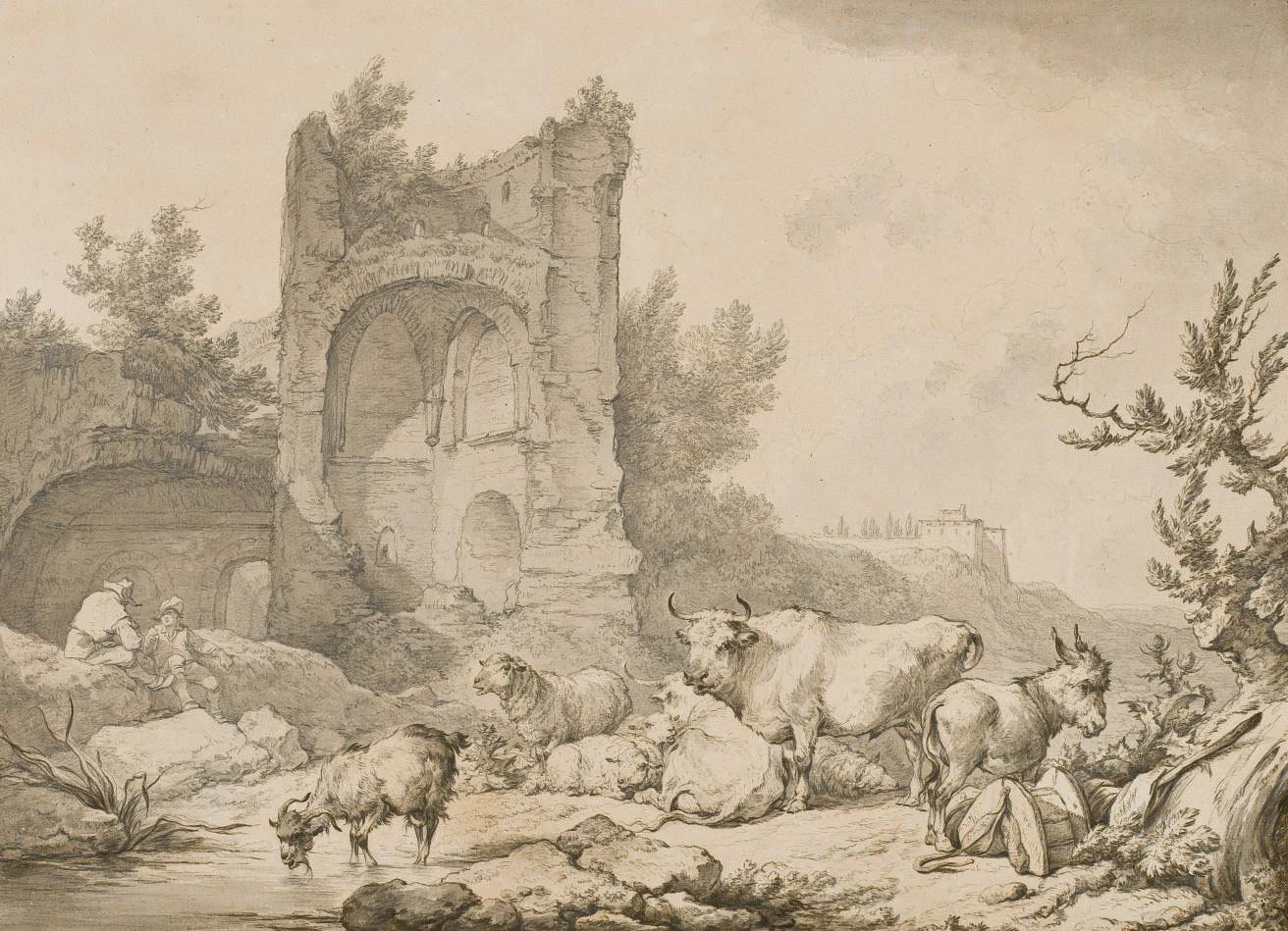 Troupeau d'animaux dans un paysage en ruines à Mondragon en Dauphiné