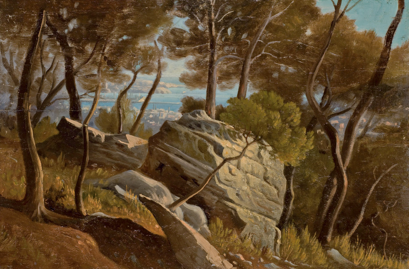 Paysage provençal de bord de mer (recto); Village méridional (verso)