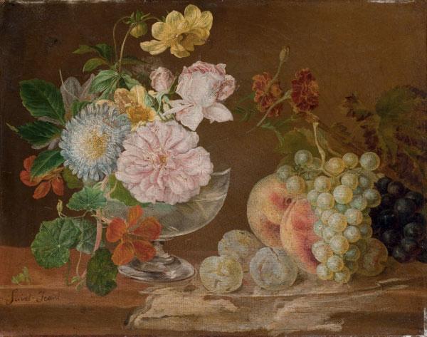 Nature morte aux fleurs et aux fruits