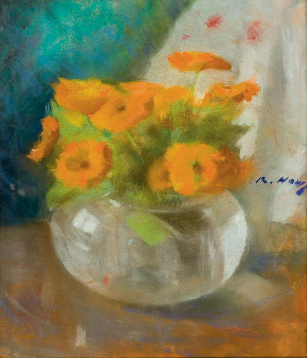 Fleurs oranges dans un vase (et deux autres oeuvres)