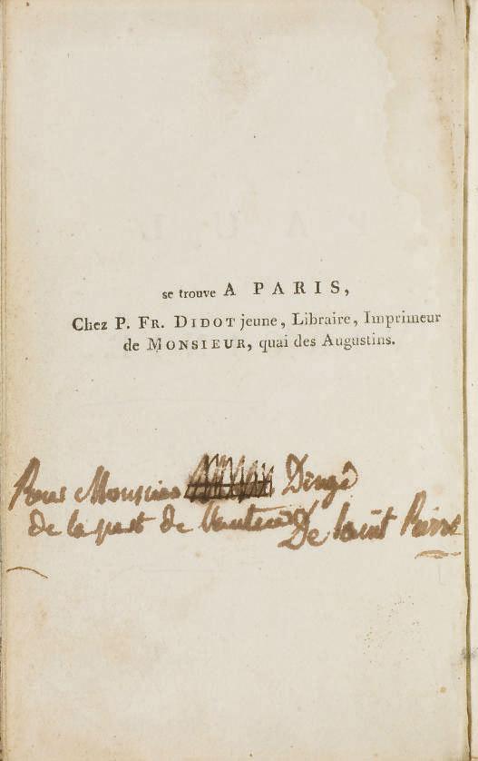 BERNARDIN DE SAINT-PIERRE, Jacques-Henri (1737-1814). Paul et Virginie. Paris: Imprimerie de Monsieur, 1789.