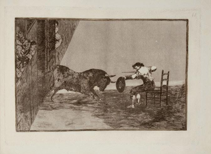 GOYA Y LUCIENTES, Francisco José de (1746-1828). Treinta y tres estampas representan diferentes suertes y actitudes del arte de lidiar los Toros.. Madrid: par l'auteur, [1816]. 33 planches, demi-veau vert.