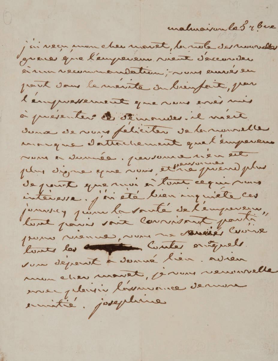 """JOSÉPHINE, Marie-Josèphe Rose Tascher de La Pagerie, impératrice des Français (1763-1814). Lettre autographe signée """"Joséphine"""" à Hugues-Bernard Maret, duc de Bassano. Datée """"Malmaison le 5 7bre"""" [1809]."""