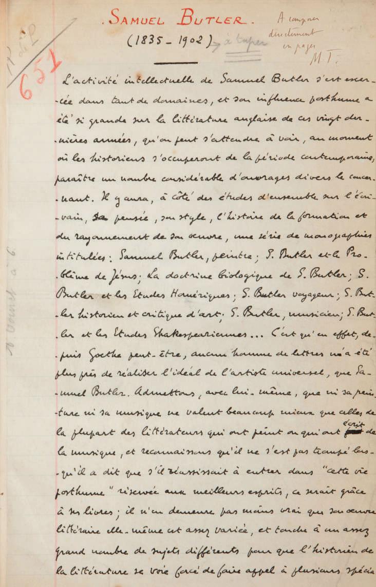 "LARBAUD, Valery (1881-1957). Samuel Butler (1835-1902). Manuscrit autographe signé ""Valery Larbaud"", s.d. [vers 1923]."