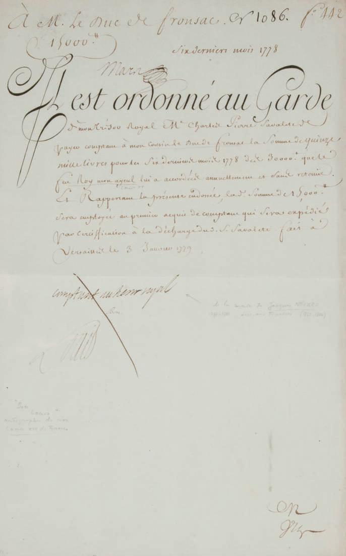 LOUIS XVI (1754-1793). Pièce signée sur une feuille in-folio (368 x 235 mm), Versailles 3 janvier 1779, avec une note autographe de Necker. (Pliure centrale).