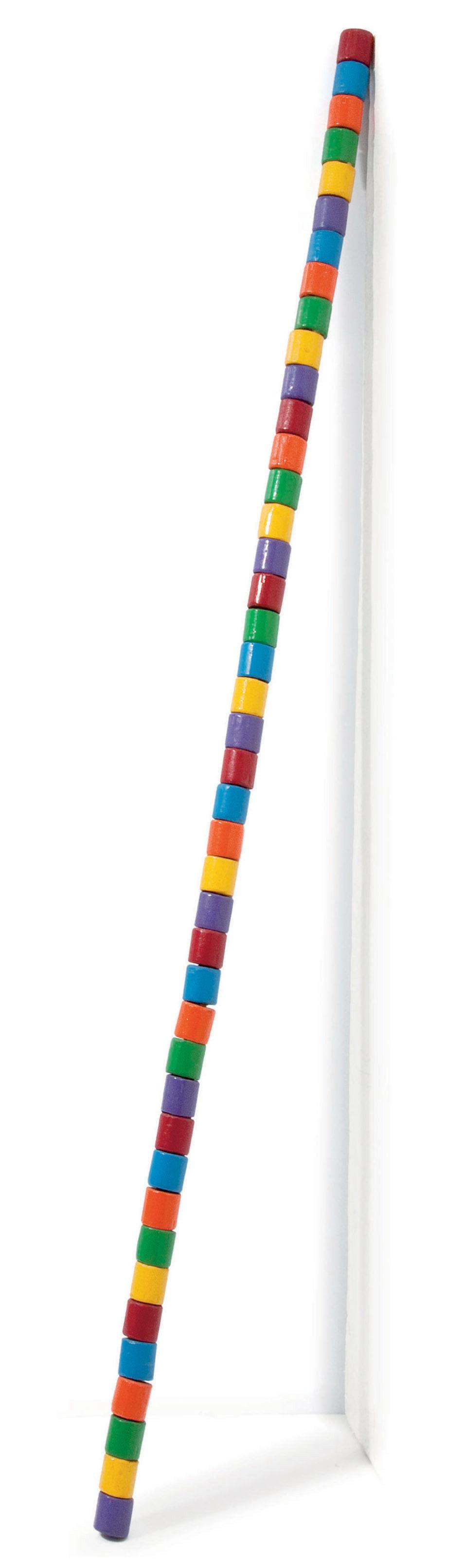 Barre de bois rond rouge, bleu, orange, vert, jaune et violet