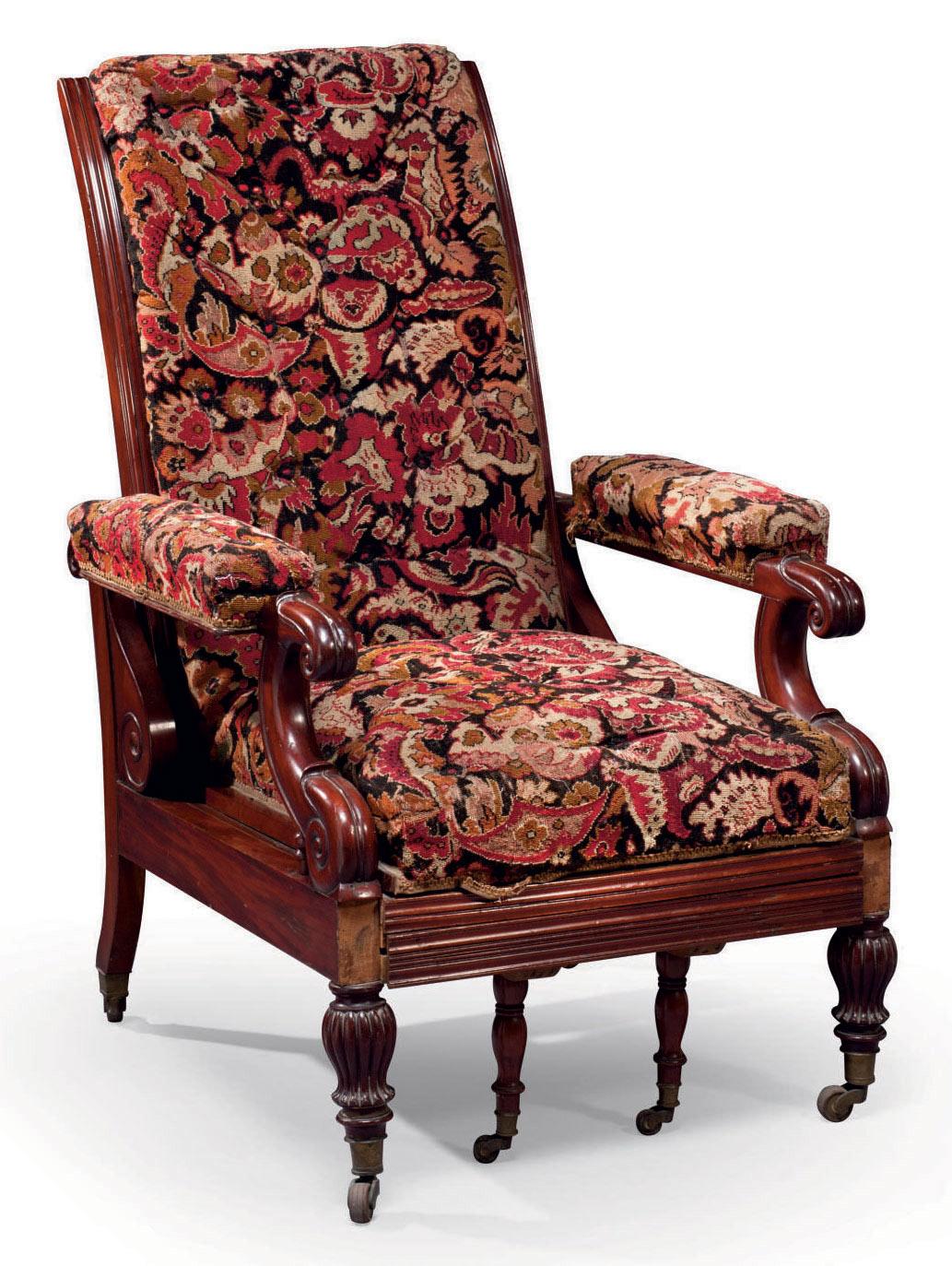 fauteuil inclinable d 39 epoque louis philippe second tiers du xixeme siecle christie 39 s. Black Bedroom Furniture Sets. Home Design Ideas