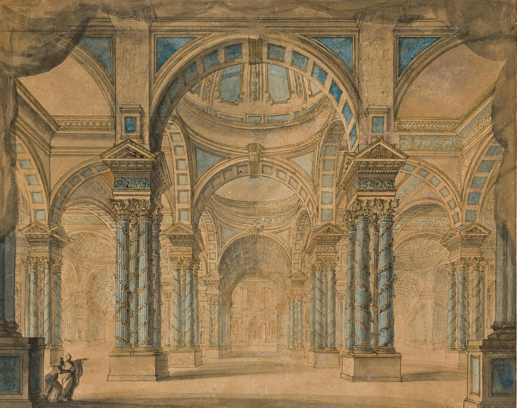 Enfilade de colonnes corinthiennes surmontées de pendentifs et de coupoles