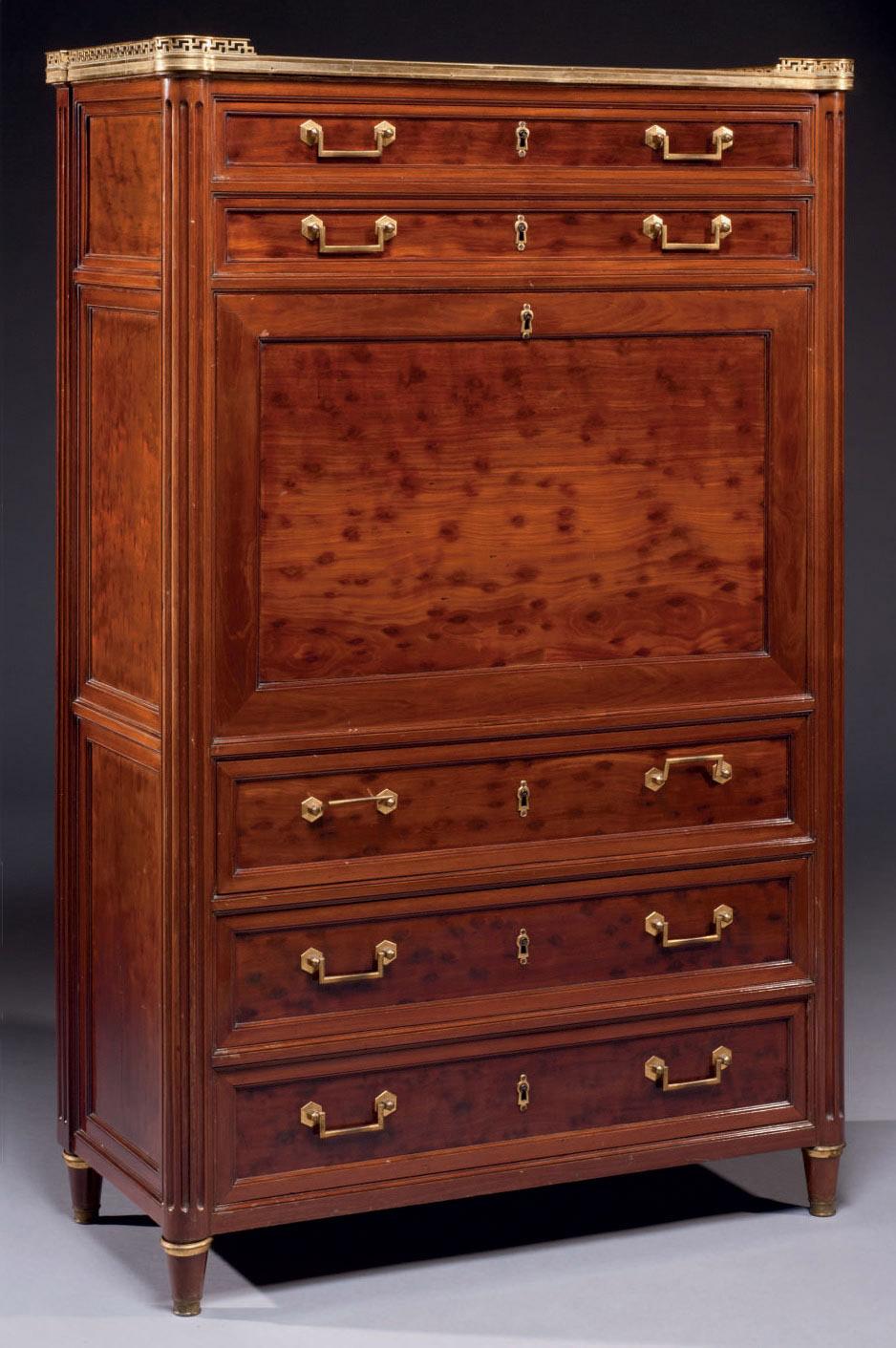 secretaire a abattant de la fin de l 39 epoque louis xvi estampille de louis moreau et biennais. Black Bedroom Furniture Sets. Home Design Ideas