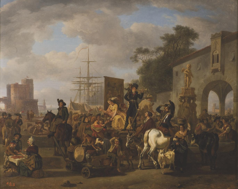Scène de marché devant un port