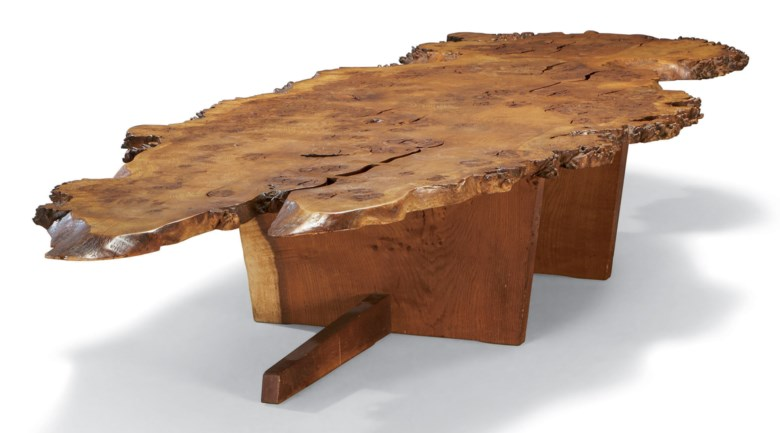 George Nakashima (1905-1990), Coffee table, circa 1950-1960. 15¾ in (40 cm) high, 94 in (239 cm) long,  38 in (96.5 cm) deep. Sold for €97,000 on 26 November 2010 at Christie's in Paris