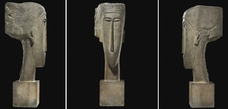 Amedeo Modigliani (1884-1920), Tête, circa 1910-12 . Height 64 cm (25¼ in). Sold for €43,185,000 on 14 June 2010 at Christie's in Paris