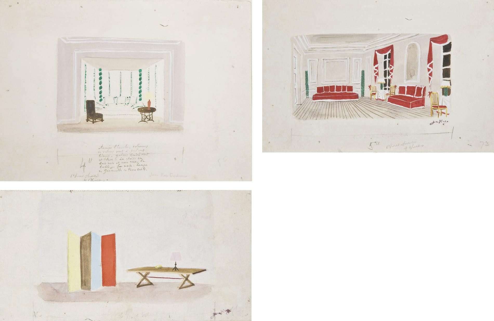 TROIS GOUACHES a. Le salon de l'hôtel de Crillon décoré par Jean-Michel Frank; b. Le 'Tunisian corner', boudoir de Max Chadourne; c. Table et paravent de Jean-Michel Frank et lampe d'Alberto Giacometti