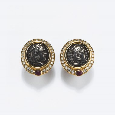 A pair of diamond and coin earrings, by Bulgari. Sold for €3,380 on 26 May 2010 at Christie's in Milan