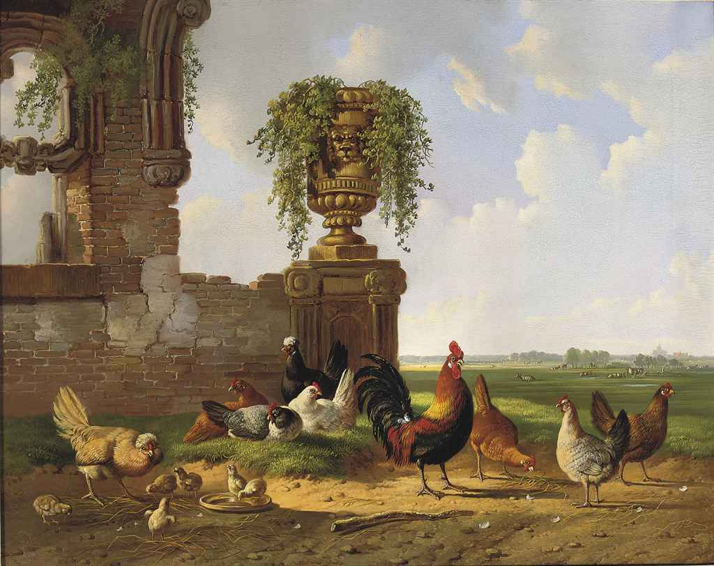 Poultry by a ruin in an extensive landscape