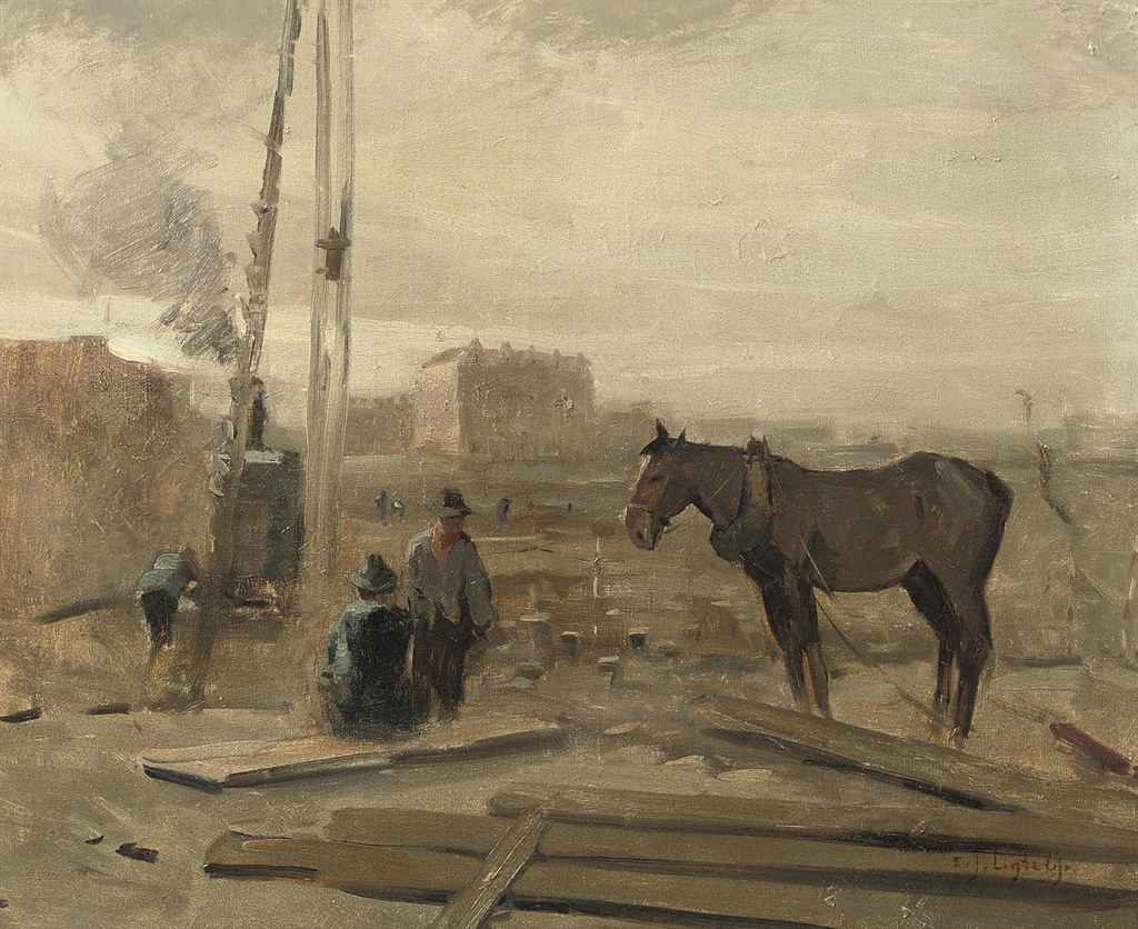 A horse at a building site