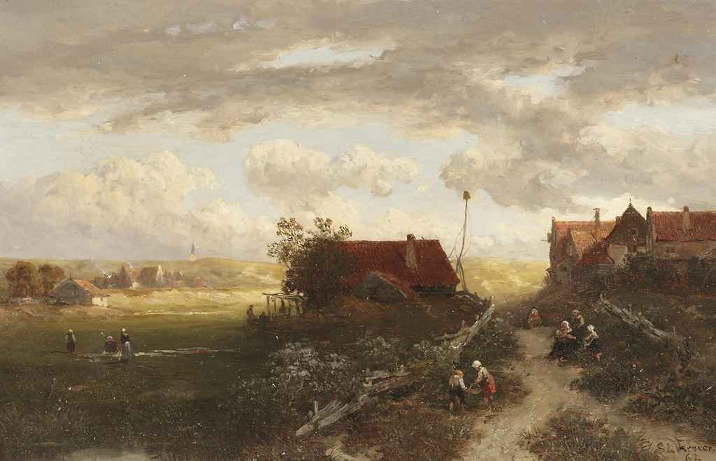 A summer landscape with villagers on a path and woman doing laundry