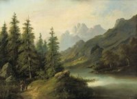 Wanderers in a forest landscape
