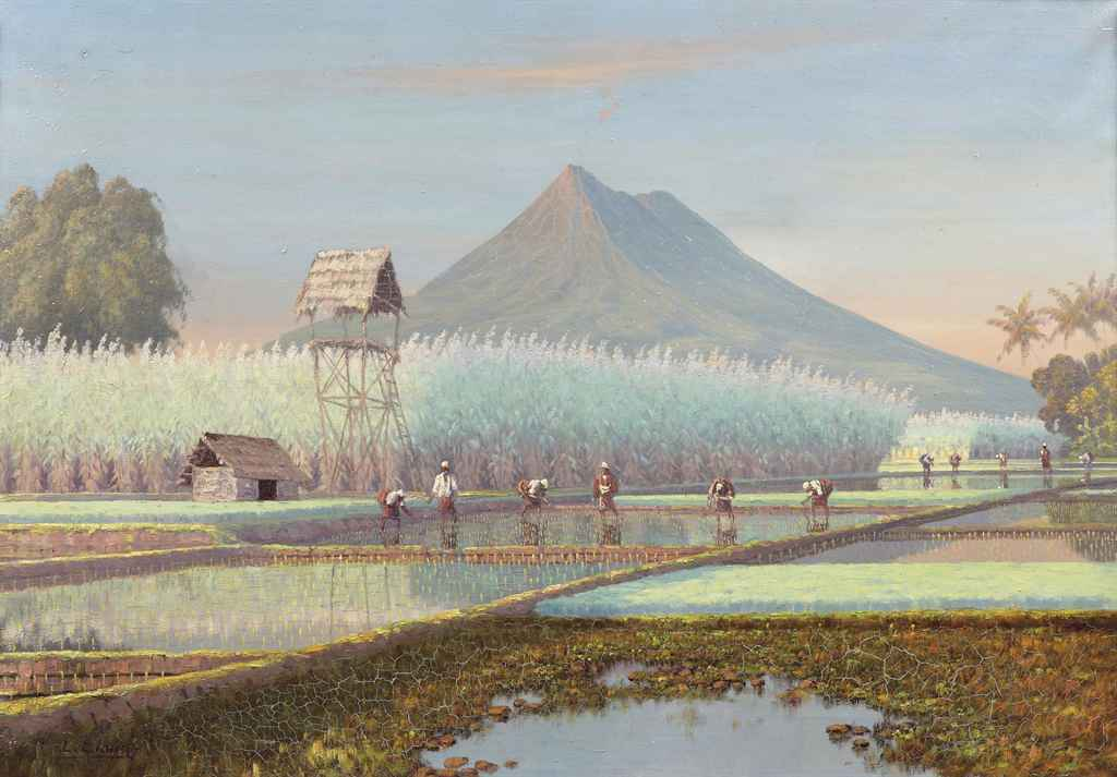 Landscape with workers on the rice fields