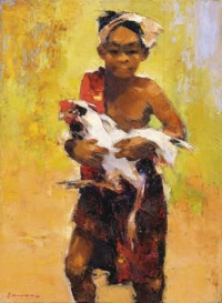 Javanese boy with cockerel