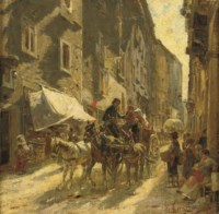 A carriage in a street in Rome